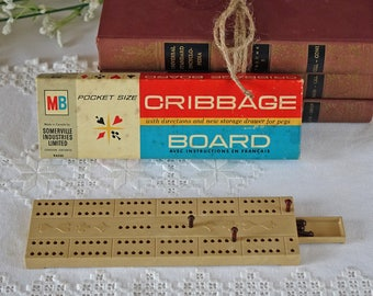 Vintage MB Cribbage Board - 1964 - In original box