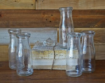 5 Small milk bottles - Set of vintage glasses - Collectible milk bottles - 250 ml - small bottles - Rustic decor
