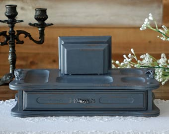 Shabby Chic Men's Valet Tray - Painted Dresser Top Valet - Hand Painted - Vintage Upcycled Valet in GREY - Cell Phone Holder