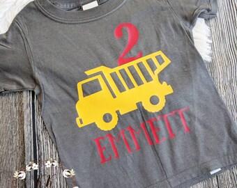 Boys Dump truck birthday shirt, truck birthday shirt, construction birthday shirt, custom birthday shirt, second birthday shirt