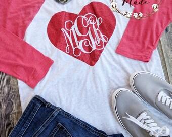 Ladies Valentine's day shirt, monogrammed Valentine's shirt, Valentine's day Raglan, custom Valentine's shirt, women's Valentine's shirt