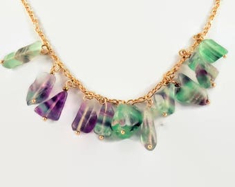 Stone necklace: rainbow  raw fluorite , frosted and irregularly shaped on a chain of rose gold color - Unique necklace made just for you