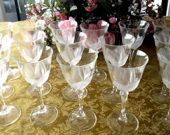 "Lot of 16 ~ Cris D'arques/Durand ""Florance"" Wine Stem Glasses ~ Lot of 16"