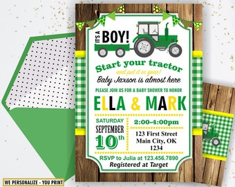 Tractor Baby Shower Invite, Tractor Invitation, Tractor Baby Shower Invitations, Yellow Woodland Green Plaid Boy Farm BST2