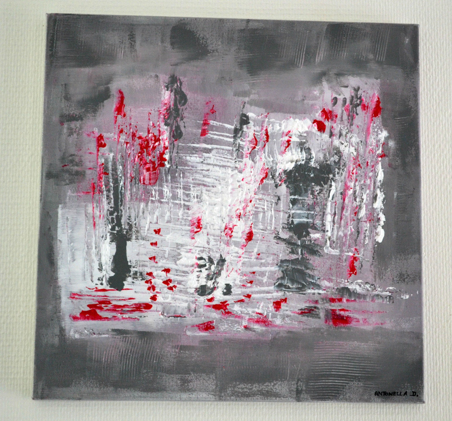 Tableau abstrait gris rouge tableau moderne acrylique - Tableau peinture acrylique moderne ...