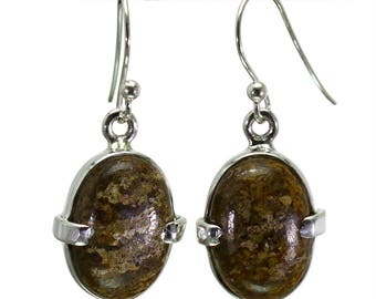 Bronzite Earrings, 925 Sterling Silver, Unique only 1 piece available! color brown, weight 4.5g, #29082