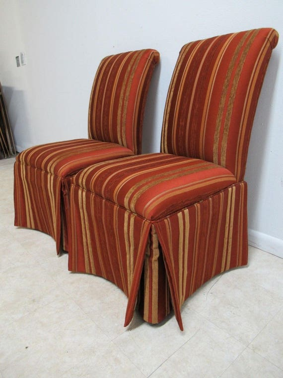 Pair Ethan Allen Parsons Dining Room Boudoir Accent Side Chairs