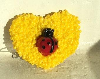 Yellow ladybug heart bow