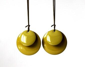 Lime green Sequins earrings