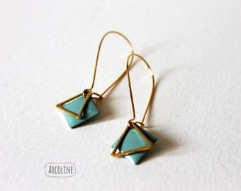 Enamelled Sequin green grey gold earrings