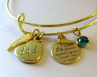 "DAD - When Cardinals Appear Your Love One Is Near ""W/ Birthstone  -   Feather -Lost Of Love One - Gift Personalize  Gift For Her Usa G1"