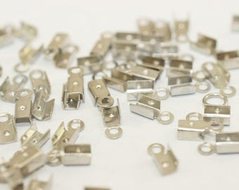 Silver Tone Leather Crimp Ends with Loop (3x8mm), Cord Ends, Crimp End Findings, Cord tip, Crimps, jewelry crimps,  GNC