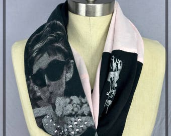Audrey Hepburn Scarf, Unique Artsy Scarf with Bling One of a Kind Upcycled Cotton Infinity Scarf, One Wrap Unique Gift For Her Kitty Bling