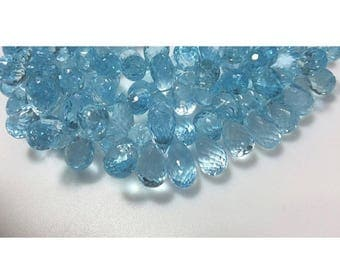 ON SALE 50% Blue Topaz, Tear Drop Beads, Faceted Gemstones, 4x6mmEach, 18 Pieces