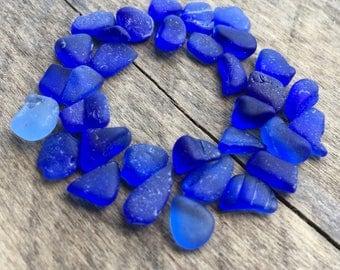 30 + Pieces of Cobalt Sea Glass