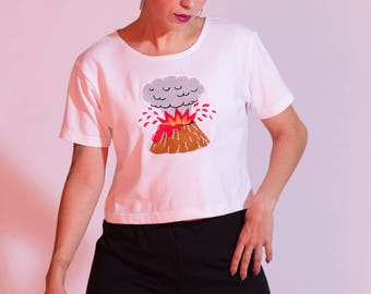 NEW embroidered volcano bamboo cropped t-shirt