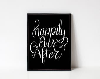 Happily Ever After Quote Digital Art Print Download, Princess Art Prints Quotes, Inspirational Wall Art Prints, Cinderella Wall Art Quote