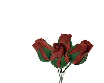 Premium Burgundy Rose Buds set of 5 for sugar flower arrangements, fondant gumpaste wedding cake toppers, cake decorations, filler flower