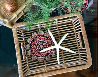 Vintage Rattan Bamboo Serving Tray • Ottoman Tray