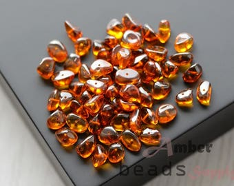 Amber beads for Jewelry Making, Natural Amber, Loose Beads, Baltic amber Beads, Cognac Amber, Beads for jewelry, Approx 58 to 65 beads. 0284