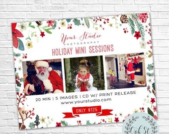 50% OFF PHOTOGRAPHER TEMPLATE Watercolor Holiday Mini Sessions Flyer, Christmas Mini Session Flyer, Photographer Marketing,