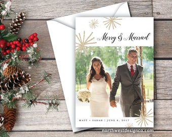 items similar to just married christmas card merry and married xmas