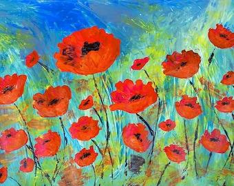 "Contemporary painting ""poppy fields"" - Sabrina RIGGIO"