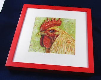 Framed Rooster Print from Pastel Drawing, Signed Print