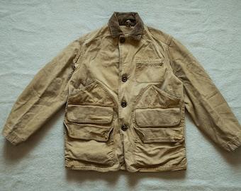 1950s Khaki Canvas Corduroy Collar Hunting Jacket Chore Work Coat Buzz Rickson Nigel Cabourn Filson Engineered Garments ll bean rrl lvc