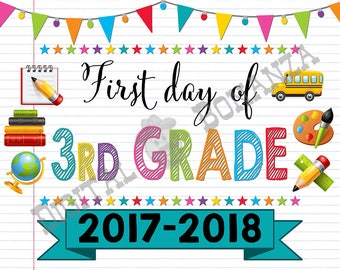 First Day of Third Grade Sign, Instant Download, First Day of School Color Notebook, Back To School, Notebook Sign, DIY, 3rd, Printable