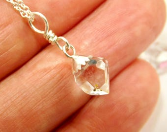 NY Herkimer Diamond Quartz Crystal Pendant- Herkimer Diamond Sterling Silver -Herkimer Jewelry- Double Terminated Crystal