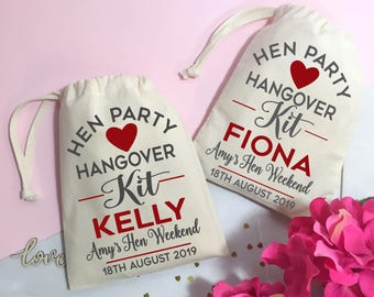 Hen Party hangover kit bag. Personalised Hen do survival kit cotton gift bag. Wedding day recovery kit thank you favour bag.