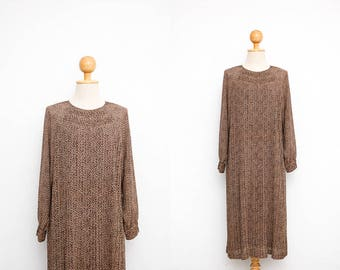 Vintage 70s Dress   Japanese Vintage Dress   Autumn Brown Floral Printed Dress   Pleated Dress   Tent Dress   Party Dress   Dinner Dress