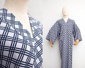Vintage Cotton Kimono Yukata   Japanese Vintage Kimono   Blue Plaid Print   Boho Kimono   Festival Fashion   Kimono Robe   Duster
