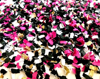 Pink, gold, and black Confetti | Round Confetti | Glitter Confetti | Party Decor | Shower Decor | Table Decor | Balloon Confetti |  par