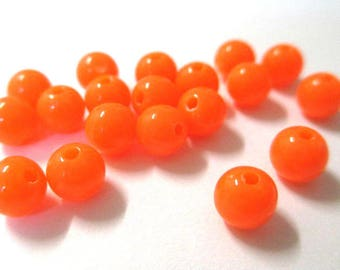 10 6mm neon orange acrylic beads