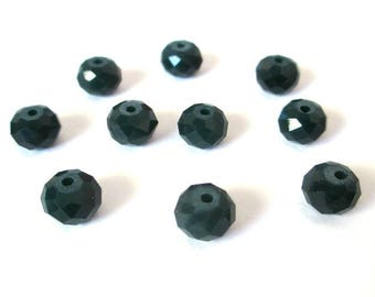 10 rondelle beads 8x6mm imitation jade glass dark green faceted