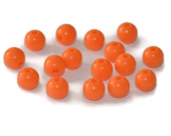 10 orange 8mm acrylic beads