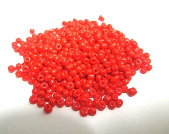 10gr approximately 800 beads (ref16) 2mm glass red seed beads