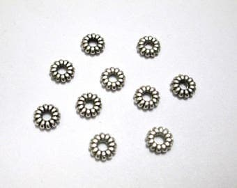 10 metal beads Silver Flower spacer rondelle aged 6mm
