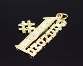 14k #1 Number One Grandma Cut Out Charm/Pendant Gold