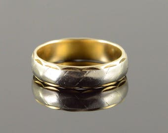 14k 5mm Wavy Two Tone Wedding Band Ring Gold