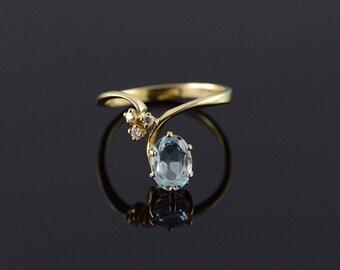 14k 1.23 CTW Blue Topaz Diamond Offset Ring Gold