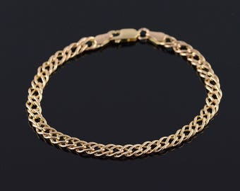 10k 4.9mm Doubled Rolling Curb Link Chain Bracelet Gold 7""
