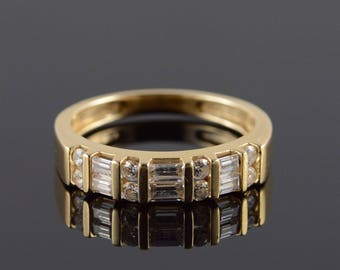 14k 1.00 CTW Baguette Round CZ Wedding Band Ring Gold