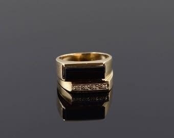 10k Retro 14x5mm Black Onyx Diamond Ring Gold