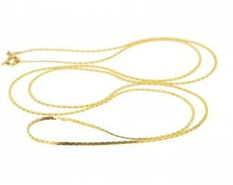 14k 1.0mm Fancy Pressed Link Chain Necklace Gold 23.9""