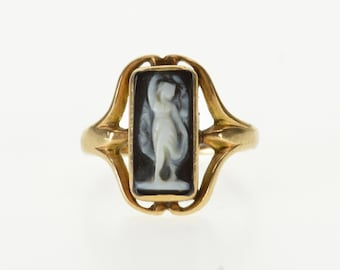 14k Ornate Carved Agate Cameo Statement Ring Gold
