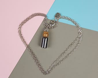 Glass Bottle Vial Necklace with Red or Black Glitter