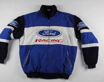 90s FORD RACING Full Button Casual Puffer Bomber Jacket Mens XL, Vintage Ford Racing Jacket, Bomber Jacket, Vintage Ford Car Jacket Blue